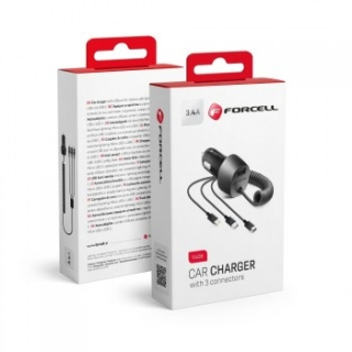 Nabíječka do auta FORCELL 3v1 3.4A - microUSB / usb-c / iPhone